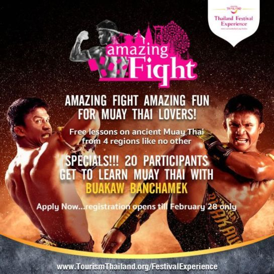 The Tourism Authority of Thailand is hosting the Amazing Muay Thai Fight event